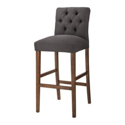 Threshold 30-Inch Brookline Tufted Bar Stool, Charcoal - This one would be perfect for oft-used stools. With extra padding and a high back, it should be comfortable for longer periods. Plus, the charcoal fabric will hide any stains.
