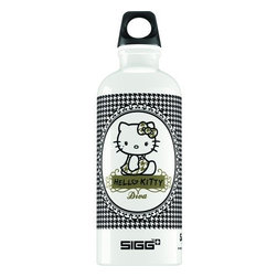 Sigg Water Bottle - Hello Kitty Pepita - .6 Liters - Case Of 6 - Hello Kitty has things to say : Use a soft felt tip pen to customize your Hello Kitty Bottle. The speech bubble can be used as a name tag, or just express a feeling. Also family and friends can say hi!                                   Ideal for packing into your child's lunch box, this 0.4-liter SIGG Hello Kitty aluminum water bottle has a highly resistant lining, making it almost unbreakable!