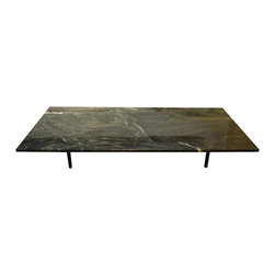Marble Top Coffee Table w/ Iron Base, C.1950's - Marble Top Coffee Table