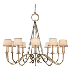 Fine Art Lamps - Portobello Road Chandelier, 420840ST - Like a corps de ballet of illumination, this chandelier's graceful candelabra arms herald your excellent taste. The platinized silver finish has a subtle gleam that complements the edged silk shades.