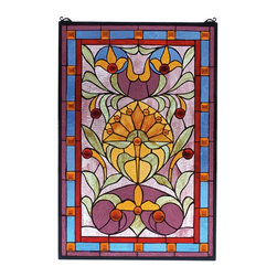 Meyda Tiffany - Meyda Tiffany 72968 Piccadilly Stained Glass Tiffany Window - A splash of colorful Plum, Amber, Pistachio and Royal Blue stained art glass make this delightful deco floral, Tiffany style window. Created with 36 Amber jewels and 199 pieces of hand cut stained glass , this window is handcrafted utilizing the copperfoil construction process. The window also comes with a solid brass hanging chain and brackets.