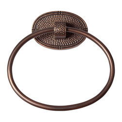 None - The Copper Factory Antiqued Hammered Copper Oval Towel Ring - This handcrafted oval towel ring with hammered copper back plate features an antiqued copper finish. This distinct towel ring will add a touch of elegance to any bathroom decor.