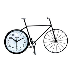 Maple's Clocks - Bike Silhouette Table/Wall Clock - Bicycle silhouette. Made of wrought iron. 2.75 in. W x 15.2 in. L x 8.4 in. HThis dual use table or wall clock features a shilhouette of a bicycle.  The body is made of metal with a matte black finish.  The dimensions are 15 inches by 8 inches by 2.75 inches.  Precision timing is kept with quartz crystal.  The clock is powered by 1 AA battery (not included) and includes a 1 year limited warranty.