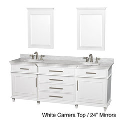 Wyndham Collection - Berkeley White 80-inch Double Bathroom Vanity - Give your bathroom a much-needed facelift with this beautiful Berkeley double-sink bathroom vanity. Crafted of birch wood with a sleek white finish and brushed nickel hardware,this vanity is complete with two shelves and four pull-put drawers.