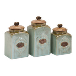 Imax - Classic Style Multi Set of 3 Addison Ceramic Canisters Home Decor - Coffee, tea or me? How about a set of three ceramic canisters, handily labeled and decorated for retro appeal.