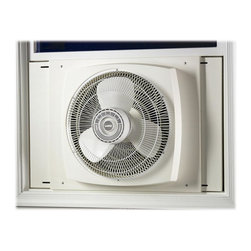 Lasko - 16 in. Electrically Reversible Window Fan - Three whisper-quiet speeds. Three-paddle blades. Electrically reversible motor with simple turn of dial. Fits windows 26 to 34 in. wide, 22 in. high and largerThe Electrically Powerful Reversible Window Fan powerfully circulates air through two to three rooms. Plus, its exclusive Storm Guard allows you to close the window behind fan for safety and security during inclement weather or while you're away.