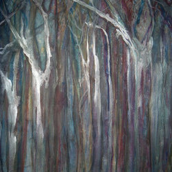 Sheri A Wilson - Surreal Natures Tree Landscape Unforeseen Tree Illustration Painting - Landscape Trees Unforeseen Trees
