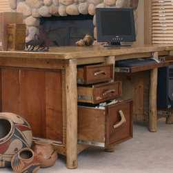 Rustic Western Style Furniture - Mesquite and ponderosa pine desk with full extension drawers and naturally shed antlers handles.