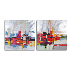 """Reflections by Wharf"" Hand-Painted 2-Piece Canvas Set - Abstract art provides you with a new way of seeing the ordinary. The reflection in this set of paintings bursts with vibrant smudges of color splashed across a silvery surface. This original duo is a must for your modern home, and will call your eye again and again."
