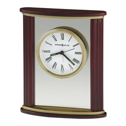 HOWARD MILLER - Victor Alarm Clock - This handsome wood and glass alarm clock features contoured sides, with wood top and base in a satin Rosewood finish. Satin brass plates accent the top and base.