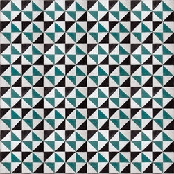 Walls Republic - Turquoise Angles Wallpaper M8834 - Essential is a basic traditional geometric Moroccan tile pattern. This digitally printed wallpaper mural with simple triangular shapes creates an impeccably realistic tile look. Use it to add interest to your home office or powder rooms.