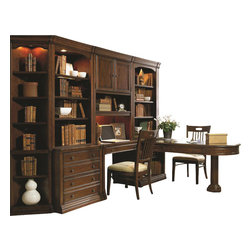 """Hooker Furniture - Cherry Creek Open Hutch - White glove, in-home delivery included!  Hutch only. (Shown with Cherry Creek modular wall system.)  The Cherry Creek modular wall system allows you to design the function you need at a price much more affordable than custom built systems.  Hutch will fit on top of the Cherry Creek Lateral File and across the end of the Cherry Creek Partner Desk Peninsula.  Two adjustable wood-framed glass shelves, one stationary shelf, one light controlled by three-intensity touch switch, stained top.  Distance from base to bottom shelf: 11 7/16"""" h   Opening (inside end panels): 30 1/2"""" w x 14 5/16"""" d x 51"""" h"""