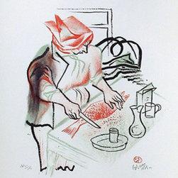 William Gropper, Preparing Fish for Dinner, Lithograph - Artist:  William Gropper, American (1897 - 1977)