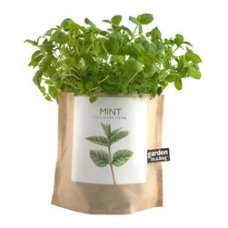 Potting Shed Garden-in-a-Bag Herb Collection Heirloom Mint - Our certified organic Garden-in-a-Bag collection provides a great selection of herbs that can be grown year-round indoors on your kitchen windowsill or any sunny place, right in the leak-proof bag. Theycontain 100% organic soil and coconut husk drainage. And the best part is thatthey are fun and easy to grow All you need to do is mix in the enclosed packet of seed and add water.Within 8 weeks or less,you will have extremely flavorful organic herbs for all your gourmet meals Also available in: Basil, Cilantro, English Thyme, Dill, Chive, Italian Parsley, Oregano,and Sage.Also try our organic Garden-in-a-Bag fruit & veggie and flowers to grow the best tasty tomatoes and strawberries, beautiful and fragrant flowers, and attractive greens. Give them as gifts and grow them any time of year