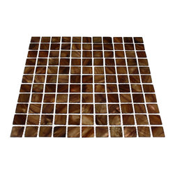 "GlassTileStore - Mother Of Pearl Topaz  Tile - Mother of Pearl Topaz Glass Tile             This captivating mother of pearl tile in amber brown is artfully arranged in a square pattern. The pearl shell glass will add a durability and lasting exquisiteness to your kitchen, or fireplace installation. The mesh backing not only simplifies installation, it also allows the tiles to be separated which adds to their design flexibility.         Chip Size: 1""x1""   Color: Amber Brown   Material: Pearl Shell Glass   Finish: Polished   Sold by the Sheet - each sheet measures 11 3/4"" x 11 3/4"" (0.96 sq. ft.)   Thickness: 1mm   Please note each lot will vary from the next.   This tile is not recommended to be installed in a shower, shower floor or pools.            - Glass Tile -"