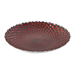 Orley Glass Charger - In shades of coral and teal, this brilliant glass bowl bears a scale like texture reminiscent of spectacular marine life.