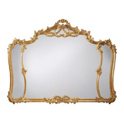 """Inviting Home - Louis Xv Style Horizontal Wall Mirror - Louis XV horizontal mirror in hand-applied gold metal leaf; 58""""W x 3""""D x 44-1/2""""H; hand-crafted in Italy ; Louis XV style carved wood horizontal mirror with leaf scrolls and flowers motif. Wall mirror has an antiqued gold leaf finish. This mirror is hand-crafted in Italy."""