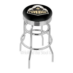 """Holland Bar Stool - Holland Bar Stool L7C3C - Chrome Double Ring Purdue Swivel Bar Stool - L7C3C - Chrome Double Ring Purdue Swivel Bar Stool w/ 2.5 Inch Ribbed Accent Ring belongs to College Collection by Holland Bar Stool Made for the ultimate sports fan, impress your buddies with this knockout from Holland Bar Stool. This retro L7C3C logo stool has a 2.5"""" cushion with a tough double-ring base with a chrome finish and a fashionable 3"""" ribbed chrome accent ring under the cushion to spice it up. Holland Bar Stool uses a detailed screen print process that applies specially formulated epoxy-vinyl ink in numerous stages to produce a sharp, crisp, clear image of your team's emblem. You can't find a higher quality logo stool on the market. The structure is triple chrome-plated to ensure a rich, polished finish that will last ages. If you're going to finish your bar or game room, do it right- with a Holland Bar Stool. Barstool (1)"""