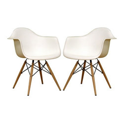 2 Eiffel Wood Arm Chair, White - Bring a relaxed sense of style to your favorite living spaces with these eiffel armchairs. The retro simplicity of these classic white eiffel base accent chairs will instantly enhance the modernity of your room. Each of these contemporary chairs is made from durable molded plastic with an ergonomically-shaped and curved seat. The legs are wooden and include eiffel shape steel hardware in black as well as black plastic tips to protect sensitive flooring.
