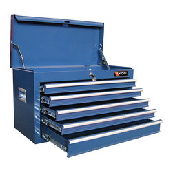 Excel - Excel 26-inch Five Ball Bearing Slide Drawers Top Tool Chest - This 26-inch blue top tool chest features five tiered ball bearing drawers for storing all manner of tools. A center lock and recessed side handles keep your chest secure while the industrial coating of blue paint will stay in peak condition longer.