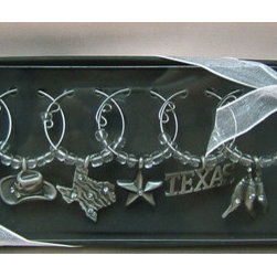 Texas Pewter Wine Charms - *Texas is full of symbols and characters.