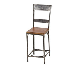 Industrial Stools - c. 1930's modified vintage american industrial brushed metal toledo riveted joint stool or chair with strong and sturdy backrest - toledo metal furniture co., toledo, oh.