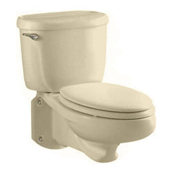 "American Standard - American Standard 2093.100.021 Glenwall Wall-Mounted Toilet, Bone - American Standard 2093.100.021 Glenwall Pressure-Assisted Wall-Mounted Toilet, Bone. This pressure-assisted wall-mounted toilet features an elongated bowl, a fully glazed 2-1/8"" trapway with a 2"" minimum ballpass, a close-coupled flush-o-meter tank, a side-mounted chrome metal trip lever, a sanitary bar on the bowl, and a Speed Connect tank/bowl coupling system."