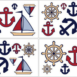 Sweet Jojo Designs - Nautical Wall Decal Set of 4 Sheets by Sweet Jojo Designs - The Nautical Wall Decal Set of 4 Sheets by Sweet Jojo Designs, along with the bedding accessories.
