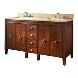 AVANITY BRENTWOOD 61 in. Bathroom Vanity - The Brentwood Collection features a new luxurious walnut finish with a transitional styling that would compliment any bathroom. Hand-crafted out of solid poplar wood and elm veneers, wood-matched design soft-close doors and antique nickel door knobs.