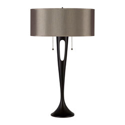 Soirée Table Lamp, Antique Bronze, Driftwood Silk Glow