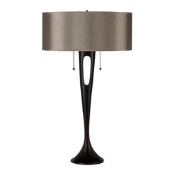 Lights Up! - Soirée Table Lamp, Antique Bronze, Driftwood Silk Glow - Complete the look of your bedroom, living room or office with this sleek and sculpted table lamp. Watch as your room comes alive once your sophisticated new lighting fixture is topped with a solid or patterned silk shade.