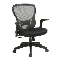 Office Star - Space Seating 529 Series Deluxe R2 SpaceGrid Back Chair w/ Mesh Seat - Deluxe R2 SpaceGrid Back Chair w/ Mesh Seat belongs to 529 Series Collection by Space Seating Delux Breathable R2SpaceGrid Back with Adjustable Lumber Support. Thick Padded Black Mesh Seat. Pneumatic Seat Height Adjustment. 2-to-1 Synchro Tilt Control with Adjustable Tilt Tension. Nylon Flip Arms. Heavy Duty Nylon Base with Oversized Dual Wheel Carpet Casters Office Chair (1)