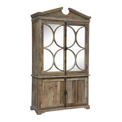 Kosas Collections - Amri Cabinet - This Armi Cabinet is perfect for adding an antique style to your home. The cabinet has five shelves for storing whatever you need. The top doors have circle designs while the bottom doors are complete with recycled elm wood.