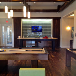 Avalon Pines Amenity Game Room - Modern 8' Pool Table with coordinating 14' Shuffleboard Table - Century Billiards