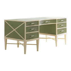 Lexington - Sligh Studio Designs Sea Mist Writing Desk - Sea mist faux shagreen divided top, drawer fronts, side and front panels with ivory finish on the frame and fretwork. One full-extension file drawer accommodates letter/legal files, 4 storage drawers and lucite and chrome bar pull hardware.