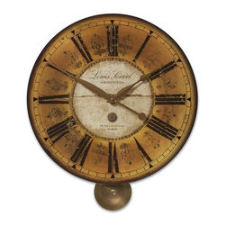 UTTERMOST - Uttermost Louis Leniel Cream & Gold Wall Clock - Weathered, laminated clock face with brass accents and pendulum.
