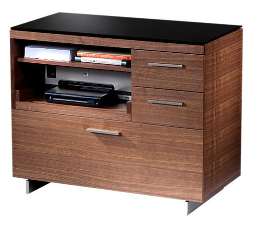 BDI - Sequel Multifunction Storage Cabinet, Walnut - The perfect addition to an office, all unsightly work materials and electronics can be neatly organized with the Sequel Multifunction Storage Cabinet by BDI. It is equipped with a file drawer and side drawers, printer ledge and shelf. Choose between 3 color options.