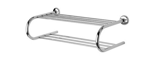 Geesa - Chrome Towel Rack or Towel Shelf with Towel Bar - Contemporary style wall double towel rack. Shower wall two tier towel shelf made out of brass in a polished chrome finish. Bathroom wall double shower rack easily mounts with screws. Made in the Netherlands by Geesa. Wall hung double tier towel rack with towel bar. Diameter of mounting piece is 2.36 inch. Distance from center of mounting pieces is 22.8 inch. Contemporary design. Made out of brass. Polished chrome finish. Mounts to the wall easily with screws. From the Geesa Standard Hotel Collection.