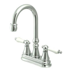 Kingston Brass - Two Handle 4in. Centerset Bar Faucet without Pop-Up Rod - The double-handle centerset bar faucet is an ideal choice for those seeking traditional elegance in the kitchen. The chic triangular escutcheons and well-crafted design on the spouts and the handles adds a fancy look to the product. Fabricated from solid brass, this faucet is durable and is made from a polished chrome finish for scratch and tarnishing resistance.