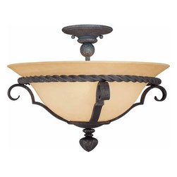 Volume Lighting - Volume Lighting V4563 Sevilla 3 Light Semi-Flush Ceiling Fixture - Three Light Semi-Flush Ceiling Fixture from the Sevilla CollectionDecorate your home in style with this 3 light semi-flush ceiling fixture featuring delightful sandstone glass.Features: