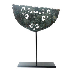 Golden Lotus - Half Round Stone Disc Fengshui Display Decor - This is a stone carved half- round shape decoration display on a metal stand. The surface has motif of ancient Chinese animals or symbol. Stone is one of the five element - earth.