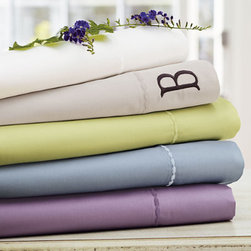 Grandin Road - Supima Tencel Sheet Set - Luxuriously smooth sheet sets, duvet covers, and shams. 65% Supima cotton, 35% Tencel. Each piece has charming embroidered trim. Color-coordinated to mix and match to our printed bedding and decorative pillows. Add your monogram to make it yours alone. Indulge in the smooth, inviting comfort of our Supima Tencel Bedding. A unique blend of luxurious fibers, our premium sheets and duvets are extraordinarily soft. They have a beautiful luster, feel cool to the touch, and dry quickly. Each piece has a row of embroidered trim. Sheet sets consist of a flat sheet, a fitted sheet, and two pillowcases. Duvet covers and shams are sold individually.  .  .  .  .  . Imported . A Grandin Road exclusive.