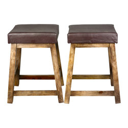 Sierra Living Concepts - Dallas Ranch Indian Rosewood Leather Upholstered Square Stool Set of 2 - Everybody can use a few extra seats. Our Dallas Ranch Upholstered Square Stools slide neatly under the table or against a counter.