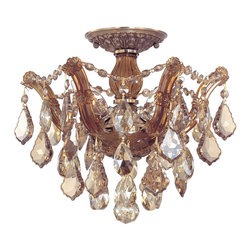 Crystorama - Crystorama 4430-AB-GT-MWP Maria Theresa Semi-Flush Mount Ceiling Light - There's undeniable magic when light meets crystal or glass. It sparks the same fire one sees when light meets precious and semi-precious stones. Great lighting often takes styling cues from jewelry as well, with its primary use of gold and silver tones. Just like an outfit isn't complete without the perfect necklace, bracelet or earrings, a room isn't complete until it has lighting that adds the WOW factor when you walk in.