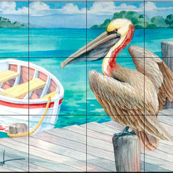 The Tile Mural Store (USA) - Tile Mural - Pelican Dory - Kitchen Backsplash Ideas - This beautiful artwork by Paul Brent has been digitally reproduced for tiles and depicts a Pelican waiting for lunch.  Images of waterfowl on tiles are great to use as a part of your kitchen backsplash tile project or your tub and shower surround bathroom tile project. Pictures of egrets on tile, images of herons on tile and decorative tiles with ducks and geese make a great kitchen backsplash idea and are excellent to use in the bathroom too for your shower tile project. Consider a tile mural of water fowl for any room in your home where you want to add interesting wall tile.