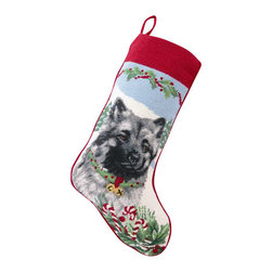 "Peking Handicraftt - Keeshond Needle Point Stocking - With its charming vintage design and intricate needle point quality, our adorable pet stockings are ready to fill with toys and treats for your best friends! This well made stocking features a plush velveteen color coordinated back and is meant to last for years! Indeed Decor will donate 20% of profits to animal rescue charities. Dry Clean Only. 11"" x 18""."