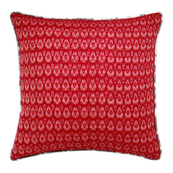 Gypsy Pillow - Relish the vibrant hues and striking designs of the Silk Road with this sophisticated, reversible pillow. Made from 100 percent natural cotton, its reversible crimson and grey ikat designs provide two contrasting way to add cultured flair to your home. Channel your inner gypsy while maintaining your modern style!     Pillow comes with a synthetic down, hyper-allergenic insert. Dry Clean Only.