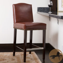 Christopher Knight Home - Christopher Knight Home Bolton Brown Bonded Leather Counter Stool - This beautiful bonded leather counter stool features a rich brown color detailed with brass finished nail heads. Solid one-piece construction gives this durable stool a stable sit.