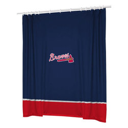 Sports Coverage - MLB Atlanta Braves Baseball Bathroom Accent Shower Curtain - Features: