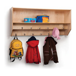 Whitney Bros. - Double Row Wall Mount Coat Rack - Great organizer of many coats and back packs in a small space. 12 hooks available for clothing, mittens, hats, or any other article to be hung up. Features: -Coat rack. -Birch laminate construction. -With double row wall mount. -Twelve hooks for clothes, hats or any article to be hung up. -Green guard certified. -Made in USA.